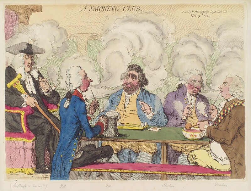 'A smoking club', by James Gillray, published by  Hannah Humphrey, published 13 February 1793 - NPG D12470 - © National Portrait Gallery, London