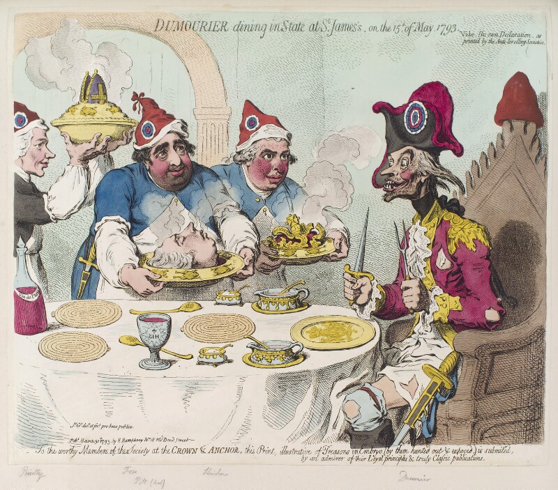 'Dumourier dining in state at St James's, on the 15th of May, 1793, by James Gillray, published by  Hannah Humphrey, published 30 March 1793 - NPG D12474 - © National Portrait Gallery, London