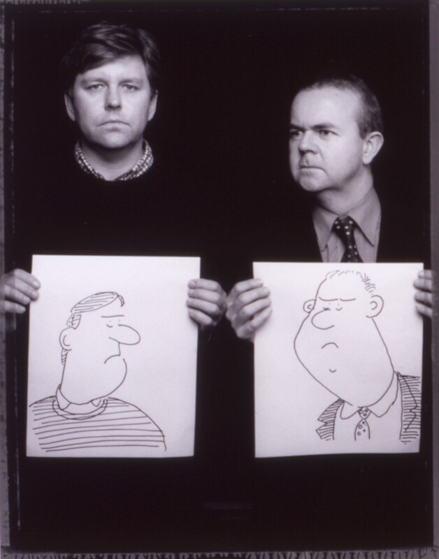 Nick Newman; Ian Hislop, by Jillian Edelstein, 29 November 2001 - NPG x125408 - © National Portrait Gallery, London