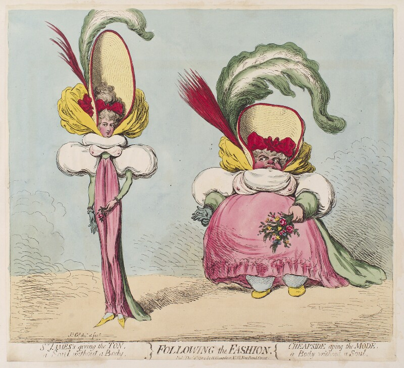 'Following the fashion', by James Gillray, published by  Hannah Humphrey, published 9 December 1794 - NPG D12504 - © National Portrait Gallery, London