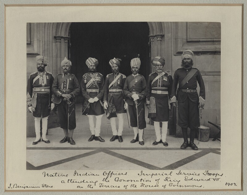 'Native Indian Officers, Imperial Service Troops, attending the Coronation of King Edward VII', by Benjamin Stone, July 1902 - NPG x125430 - © National Portrait Gallery, London