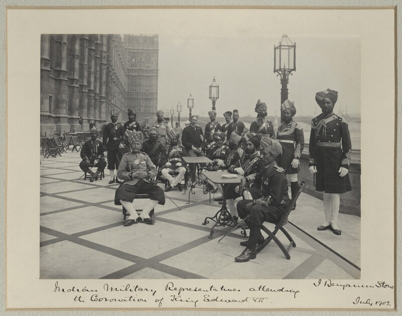 'Indian Military Representatives Attending the Coronation of King Edward VII', by Benjamin Stone, July 1902 - NPG x125432 - © National Portrait Gallery, London