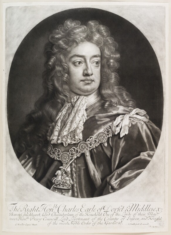 Charles Sackville, 6th Earl of Dorset, by and published by John Smith, after  Sir Godfrey Kneller, Bt, 1694 (1694) - NPG D11651 - © National Portrait Gallery, London