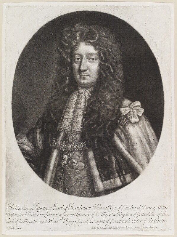 Laurence Hyde, 1st Earl of Rochester, by Isaac Beckett, published by  John Smith, after  Sir Godfrey Kneller, Bt, 1681-1688 - NPG D11659 - © National Portrait Gallery, London
