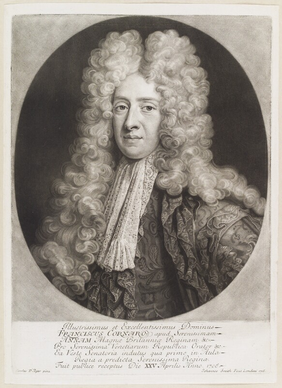Francesco Cornaro, by John Smith, after  Charles D'Agar, 1706 - NPG D11666 - © National Portrait Gallery, London