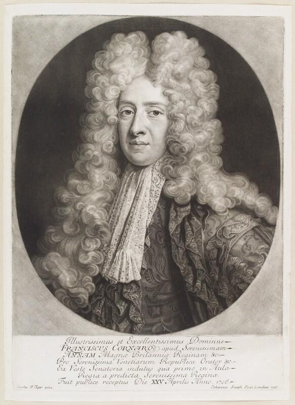 Francesco Cornaro, by John Smith, after  Charles D'Agar, 1706 - NPG D11666 - © National Portrait Gallery, London