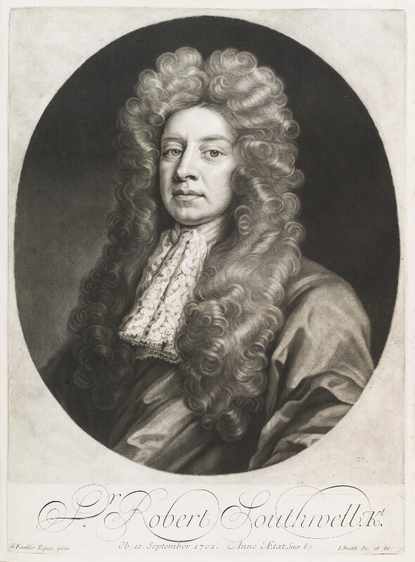 Sir Robert Southwell, by and published by John Smith, after  Sir Godfrey Kneller, Bt, 1704 - NPG D11691 - © National Portrait Gallery, London
