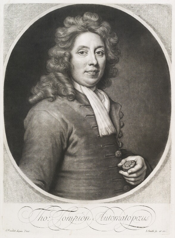 Thomas Tompion, by and published by John Smith, after  Sir Godfrey Kneller, Bt, 1697 - NPG D11692 - © National Portrait Gallery, London