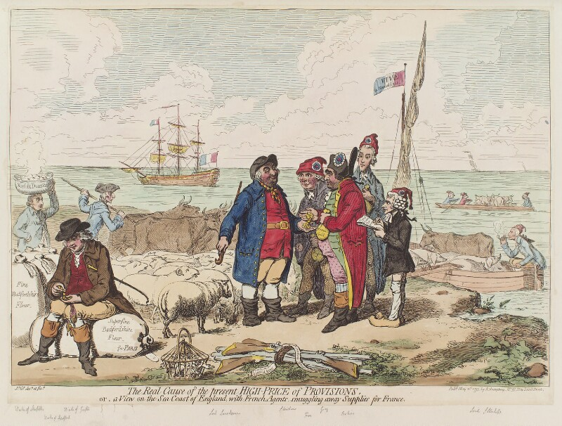 'The real cause of the present high price of provisions, or, a view on the sea coast of England, with French agents, smuggling away supplies for France', by James Gillray, published by  Hannah Humphrey, published 11 May 1795 - NPG D12522 - © National Portrait Gallery, London
