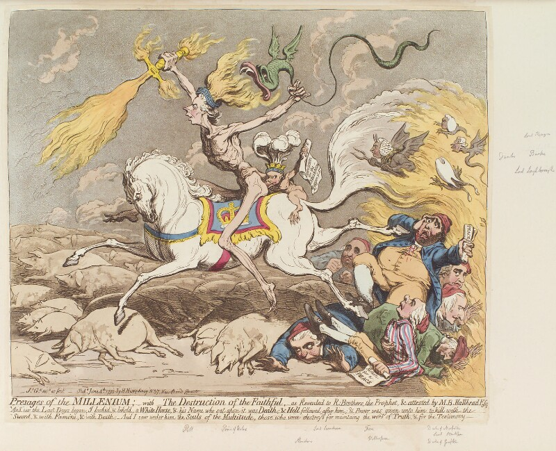 'Presages of the millenium', by James Gillray, published by  Hannah Humphrey, published 4 June 1795 - NPG D12528 - © National Portrait Gallery, London