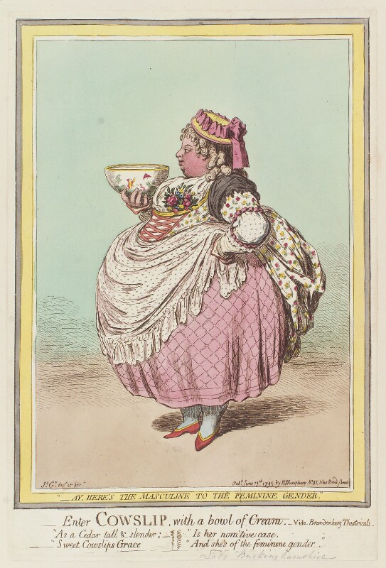 Albinia, Countess of Buckinghamshire ('Enter Cowslip with a bowl of cream'), by James Gillray, published by  Hannah Humphrey, published 13 June 1795 - NPG D12532 - © National Portrait Gallery, London