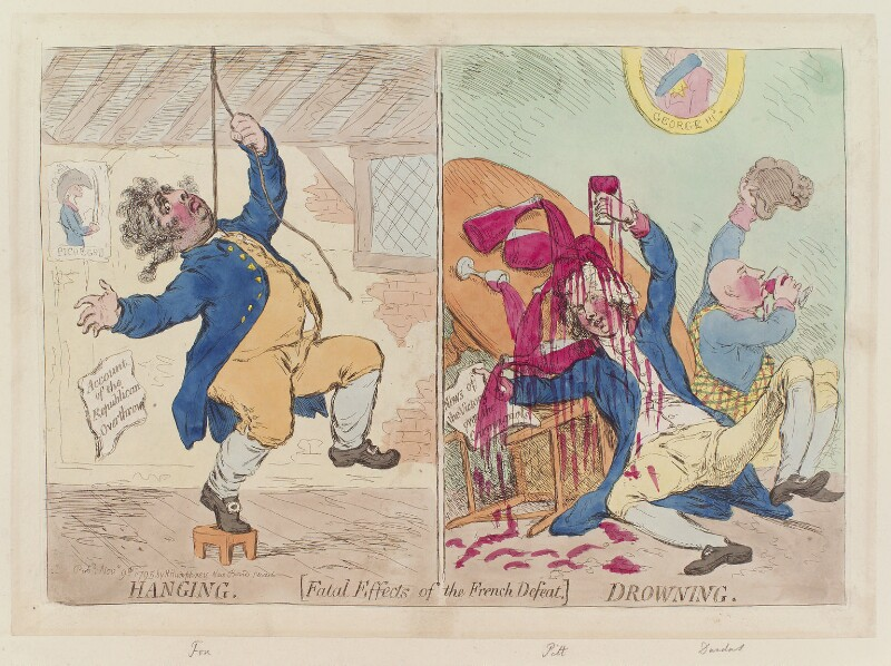 'Hanging. Drowning', by James Gillray, published by  Hannah Humphrey, published 9 November 1795 - NPG D12545 - © National Portrait Gallery, London