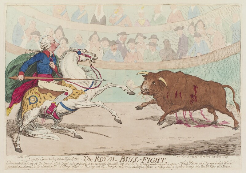 'The royal bull-fight', by James Gillray, published by  Hannah Humphrey, published 21 November 1795 - NPG D12548 - © National Portrait Gallery, London