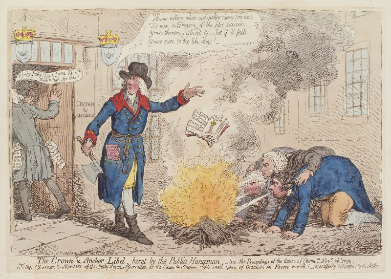 'The Crown and Anchor libel, burnt by the public hangman', by James Gillray, published by  Hannah Humphrey, published 28 November 1795 - NPG D12550 - © National Portrait Gallery, London