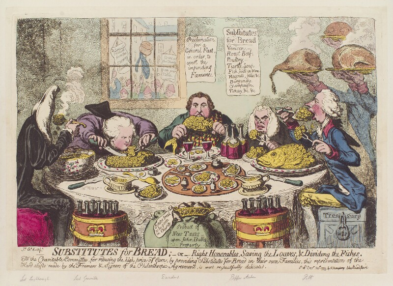 'Substitutes for bread; - or - right honorables, saving the loaves, and dividing the fishes', by James Gillray, published by  Hannah Humphrey, published 24 December 1795 - NPG D12552 - © National Portrait Gallery, London