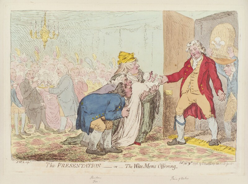 'The presentation - or - the wise men's offering', by James Gillray, published by  Hannah Humphrey, published 9 January 1796 - NPG D12553 - © National Portrait Gallery, London