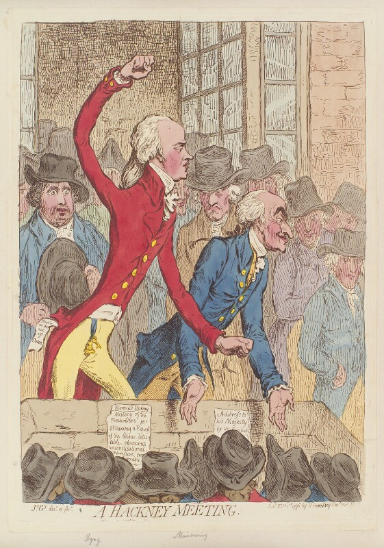 'A Hackney meeting', by James Gillray, published by  Hannah Humphrey, published 1 February 1796 - NPG D12556 - © National Portrait Gallery, London