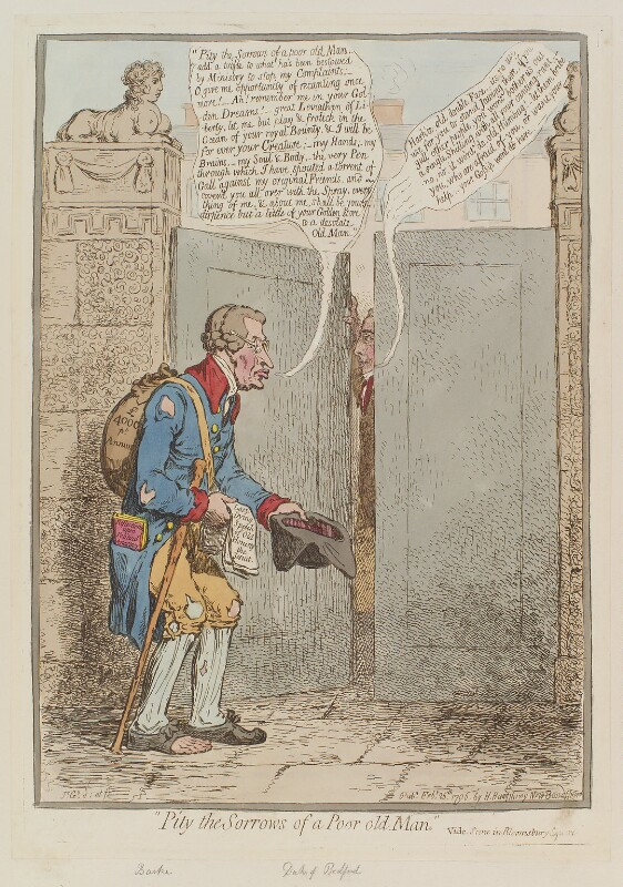 'Pity the sorrows of a poor old man', by James Gillray, published by  Hannah Humphrey, published 25 February 1796 - NPG D12558 - © National Portrait Gallery, London