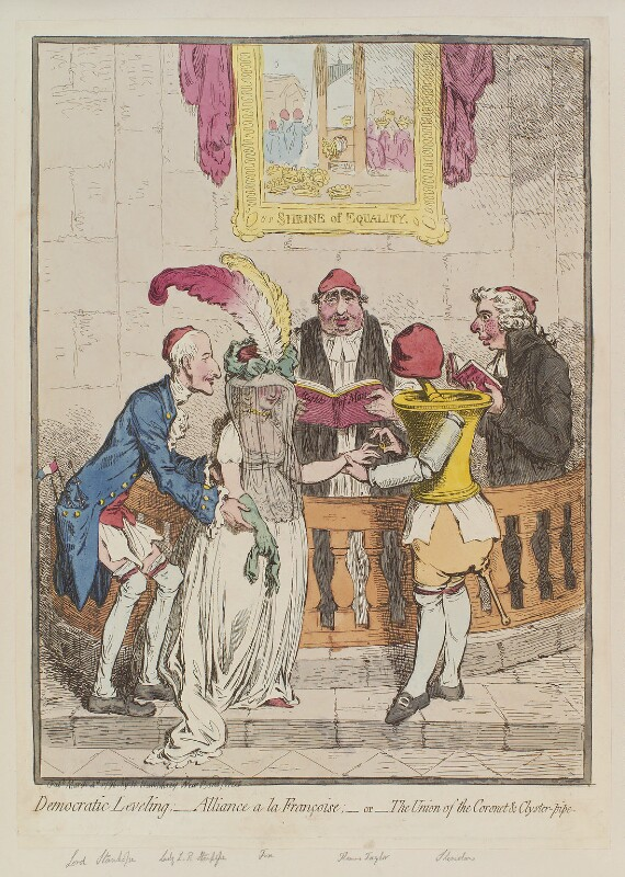 'Democratic levelling; - alliance a la françoise; - or - the union of the coronet and clyster-pipe', by James Gillray, published by  Hannah Humphrey, published 4 March 1796 - NPG D12560 - © National Portrait Gallery, London