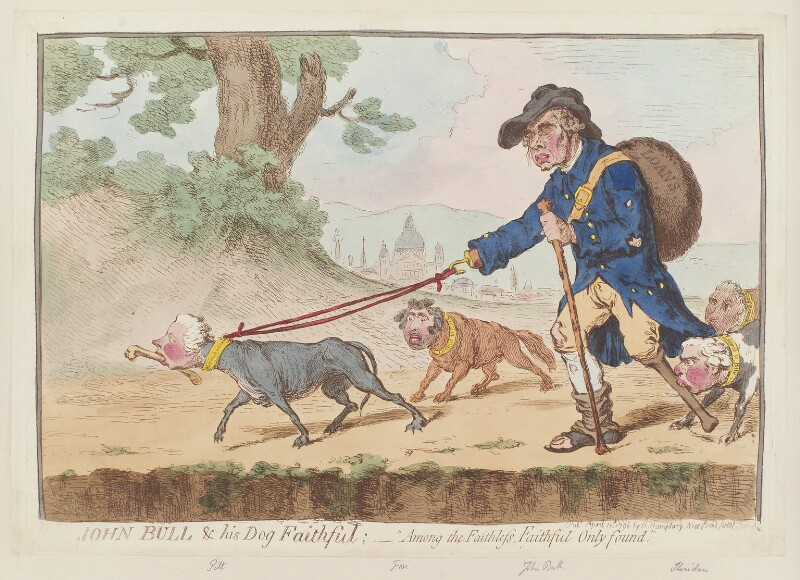 'John Bull and his dog Faithful' (William Pitt; Charles James Fox; Richard Brinsley Sheridan; Charles Grey, 2nd Earl Grey), by James Gillray, published by  Hannah Humphrey, published 20 April 1796 - NPG D12566 - © National Portrait Gallery, London