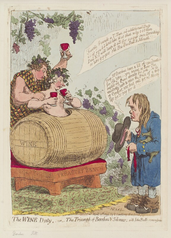 'The wine duty; - or - the triumph of Bacchus & Silenus; with John Bulls remonstrance', by James Gillray, published by  Hannah Humphrey, published 20 April 1796 - NPG D12567 - © National Portrait Gallery, London