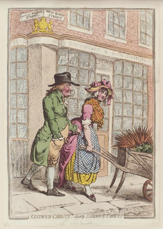 John Montagu, 5th Earl of Sandwich ('Sandwich-carrots! - dainty sandwich-carrots'), by James Gillray, published by  Hannah Humphrey, published 3 December 1796 - NPG D12587 - © National Portrait Gallery, London