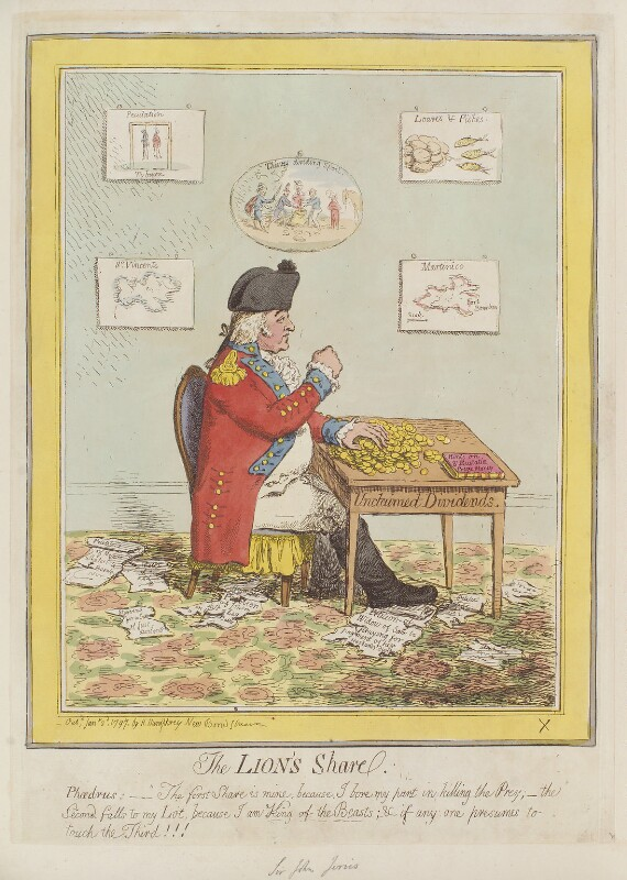 John Jervis, Earl of St Vincent ('The lion's share'), by James Gillray, published by  Hannah Humphrey, published 2 January 1797 - NPG D12591 - © National Portrait Gallery, London