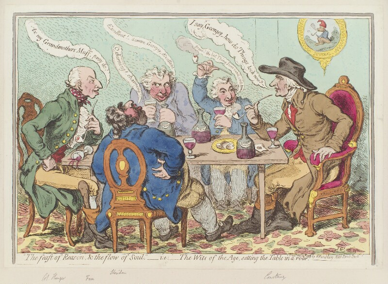 ''The feast of reason, and the flow of soul,' - ie - the wits of the age, setting the table in a roar', by James Gillray, published by  Hannah Humphrey, published 4 February 1797 - NPG D12596 - © National Portrait Gallery, London
