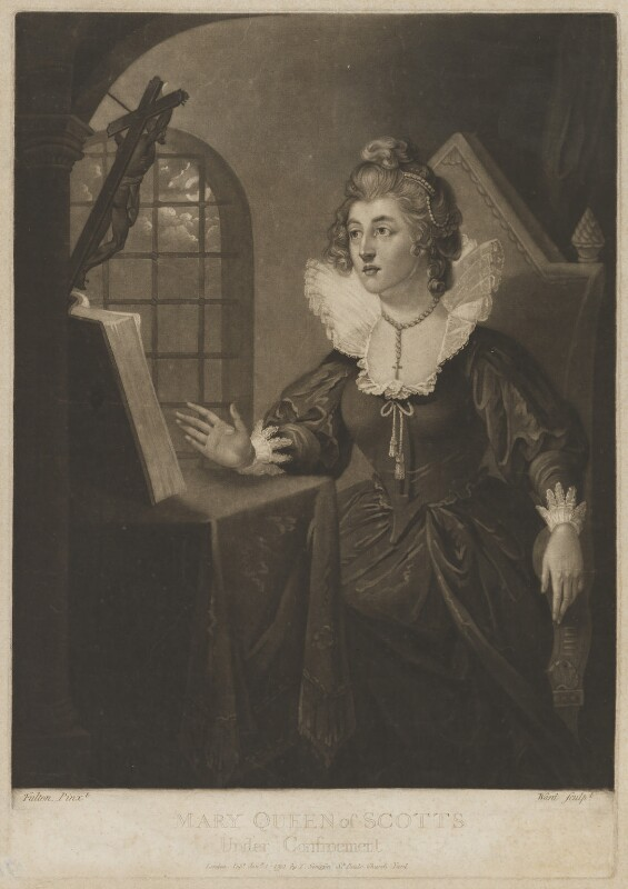 Mary Queen of Scotts Under Confinement (called Mary, Queen of Scots), probably by William Ward, probably after  Robert Fulton, published 1793 - NPG D13125 - © National Portrait Gallery, London