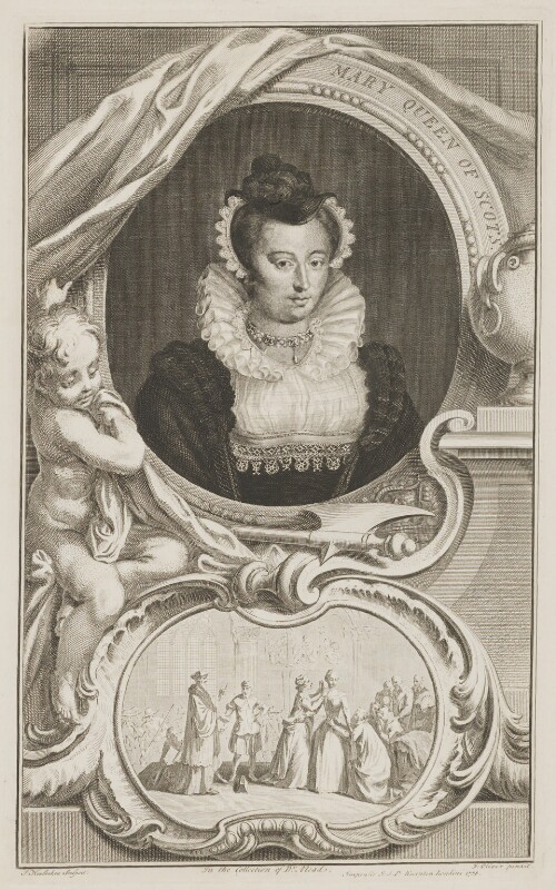 Unknown woman formerly known as Mary, Queen of Scots, by Jacobus Houbraken, after  Isaac Oliver, published 1738 - NPG D13127 - © National Portrait Gallery, London
