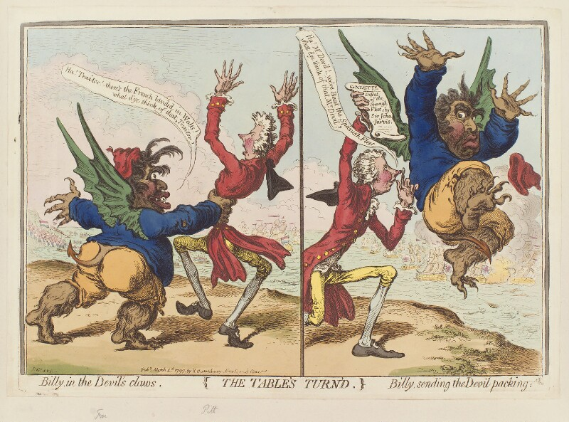 'The table's turn'd' (Charles James Fox; William Pitt), by James Gillray, published by  Hannah Humphrey, published 4 March 1797 - NPG D12602 - © National Portrait Gallery, London
