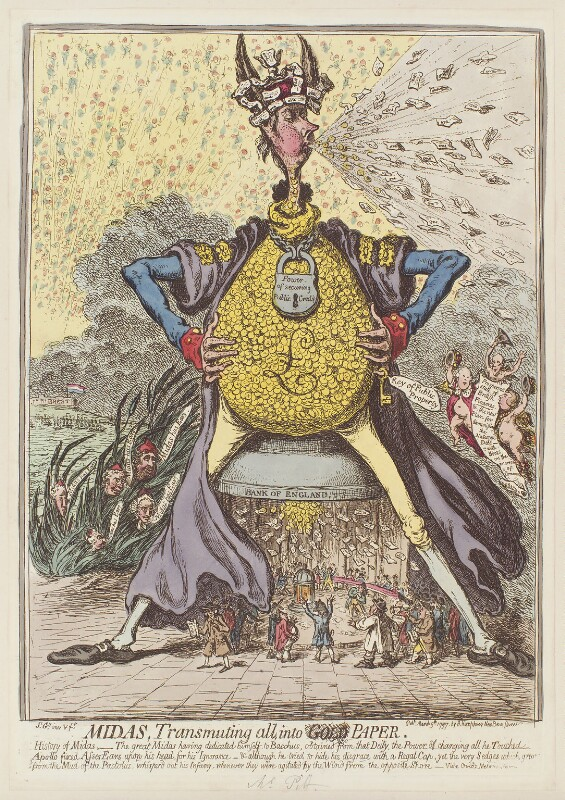 'Midas, transmuting all, into paper', by James Gillray, published by  Hannah Humphrey, published 9 March 1797 - NPG D12603 - © National Portrait Gallery, London