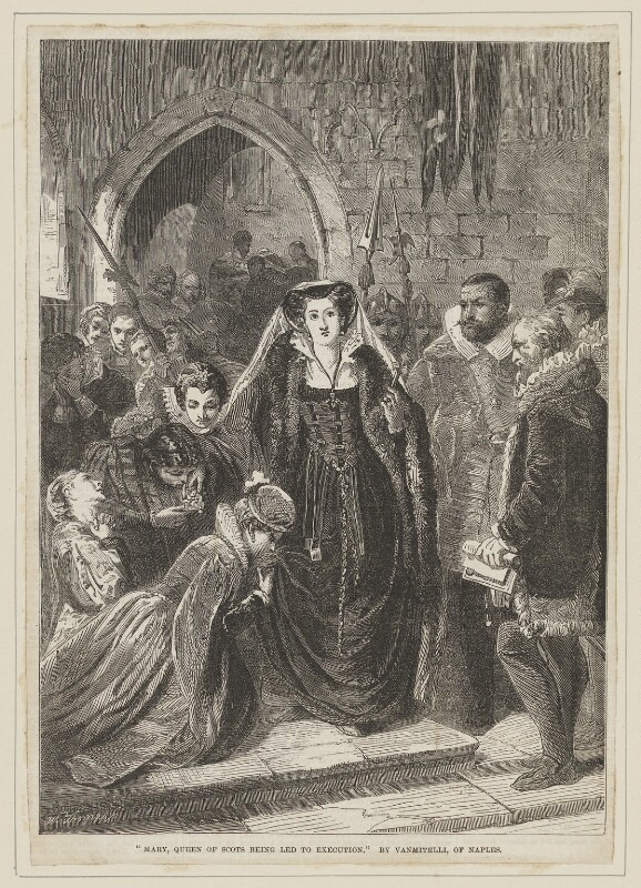 Mary, Queen of Scots being led to execution, by William Luson Thomas, published by  Illustrated London News, after  Scipione Vannutelli, published 3 January 1863 - NPG D13135 - © National Portrait Gallery, London