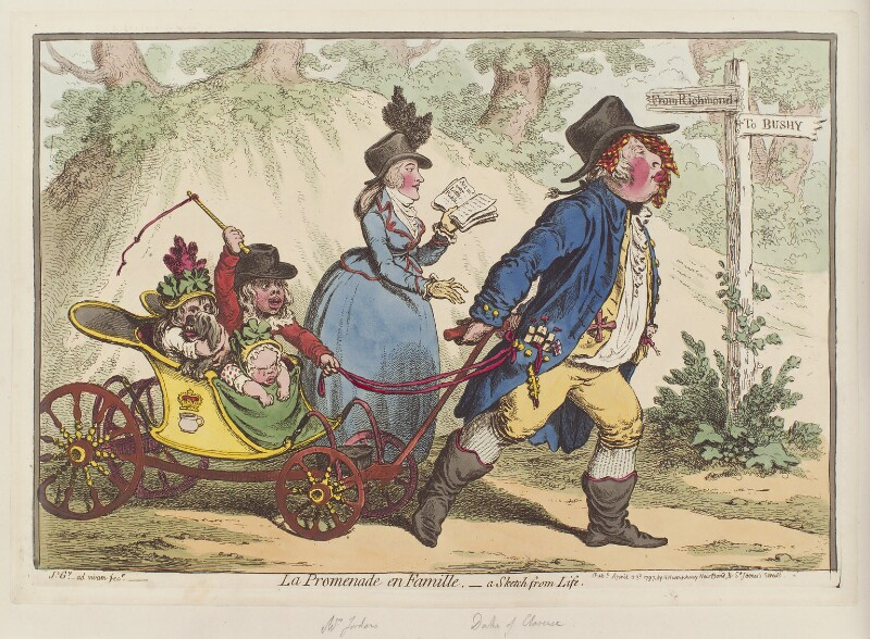 'La promenade en famille - a sketch from life', by James Gillray, published by  Hannah Humphrey, published 23 April 1797 - NPG D12611 - © National Portrait Gallery, London