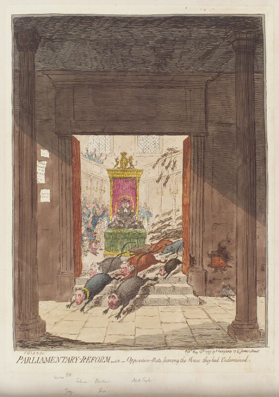 'Parliamentary-reform, - or - opposition-rats, leaving the house they had undermined', by James Gillray, published by  Hannah Humphrey, published 28 May 1797 - NPG D12614 - © National Portrait Gallery, London