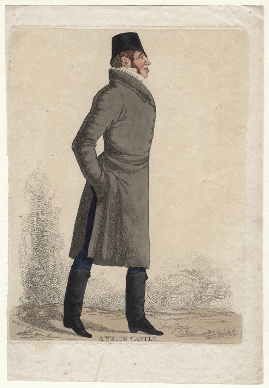 Peter Robert Drummond-Burrell (né Burrell), 2nd Baron Gwydyr, 22nd Baron Willoughby de Eresby ('A Welch Castle'), by Richard Dighton, 1818 - NPG D13205 - © National Portrait Gallery, London