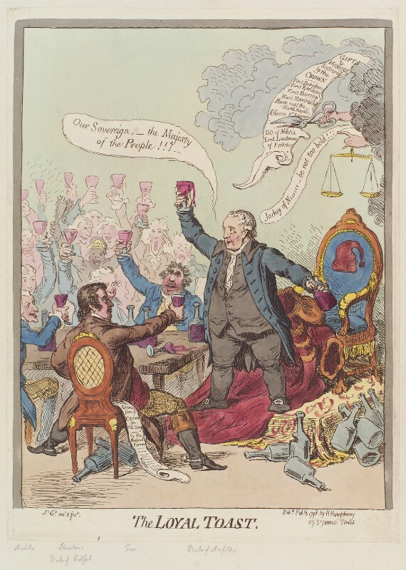 'The loyal toast', by James Gillray, published by  Hannah Humphrey, published 3 February 1798 - NPG D12631 - © National Portrait Gallery, London