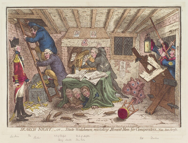'Search-night; - or - state-watchmen mistaking honest-men for conspirators', by James Gillray, published by  Hannah Humphrey, published 20 March 1798 - NPG D12633 - © National Portrait Gallery, London