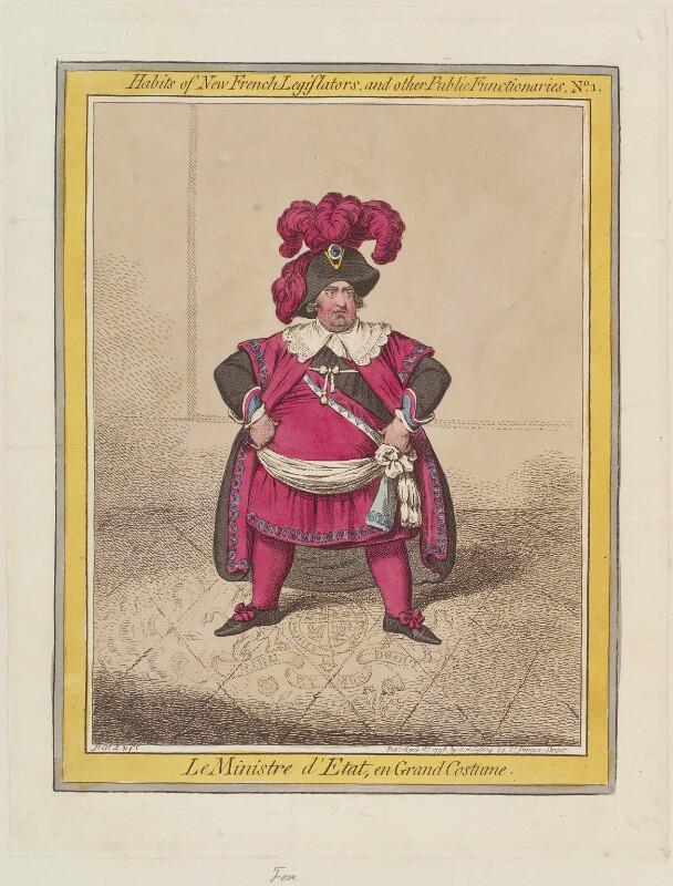 Charles James Fox ('Le Ministre d'Etat, en grand costume'), by James Gillray, published by  Hannah Humphrey, published 18 April 1798 - NPG D12635 - © National Portrait Gallery, London