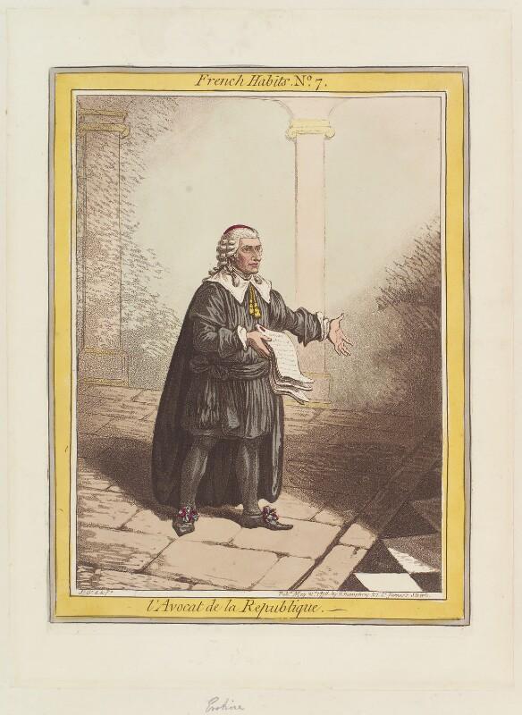 Thomas Erskine, 1st Baron Erskine ('L'Avocat de la Republique'), by James Gillray, published by  Hannah Humphrey, published 21 May 1798 - NPG D12642 - © National Portrait Gallery, London