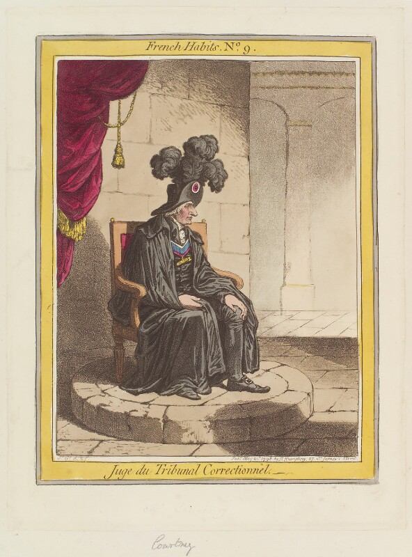 John Courtenay ('Juge du Tribunal Correctionnel'), by James Gillray, published by  Hannah Humphrey, published 21 May 1798 - NPG D12644 - © National Portrait Gallery, London