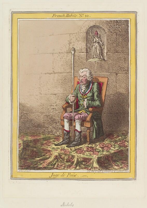 John Nicholls ('Juge de Paix'), by James Gillray, published by  Hannah Humphrey, published 15 May 1798 - NPG D12645 - © National Portrait Gallery, London