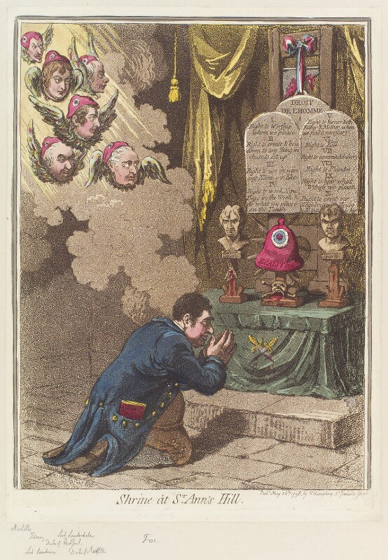 'Shrine at St Ann's Hill', by James Gillray, published by  Hannah Humphrey, published 26 May 1798 - NPG D12650 - © National Portrait Gallery, London