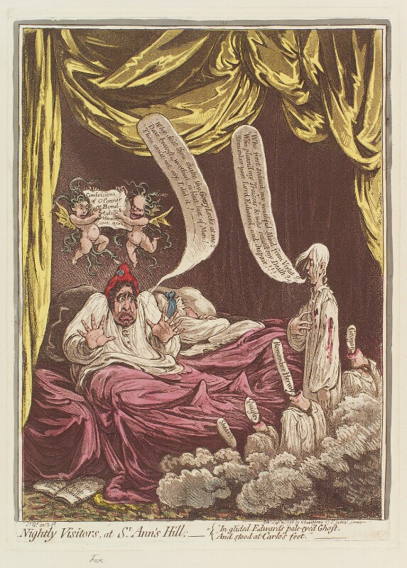 'Nightly visitors, at St Ann's Hill' (Charles James Fox; Elizabeth Bridget Fox (née Cane); Lord Edward Fitzgerald), by James Gillray, published by  Hannah Humphrey, published 21 September 1798 - NPG D12658 - © National Portrait Gallery, London
