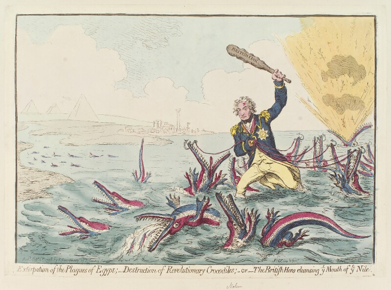 Horatio Nelson ('Extirpation of the plagues of Egypt ..., by James Gillray, published by  Hannah Humphrey, published 6 October 1798 - NPG D12660 - © National Portrait Gallery, London
