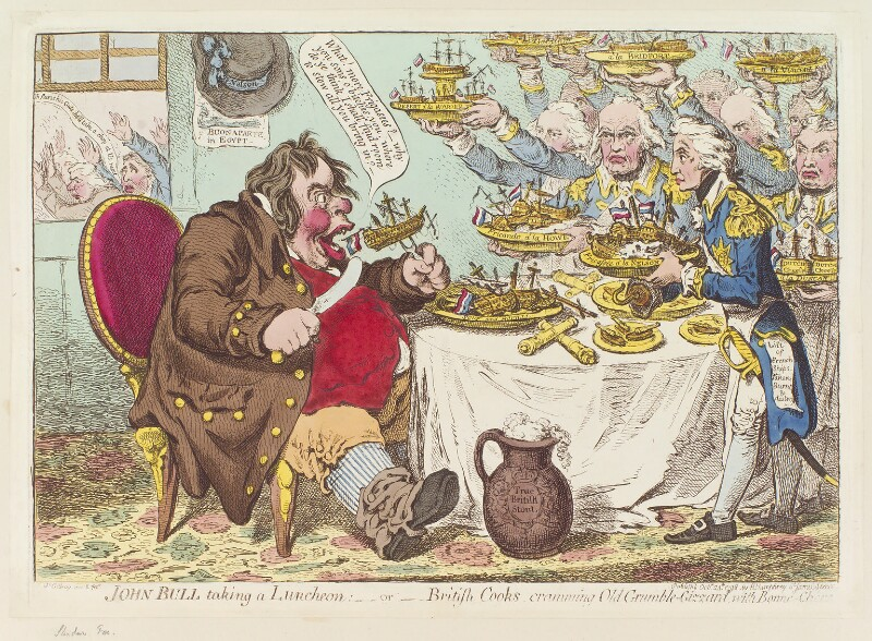 John Bull taking a luncheon: - or - British cooks, cramming old grumble-gizzard, with bonne-chére, by James Gillray, published by  Hannah Humphrey, published 24 October 1798 - NPG D12661 - © National Portrait Gallery, London