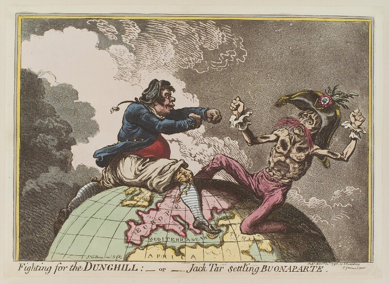 Napoléon Bonaparte ('Fighting for the dunghill: - or - Jack Tar settling Buonaparte'), by James Gillray, published by  Hannah Humphrey, published 20 November 1798 - NPG D12666 - © National Portrait Gallery, London