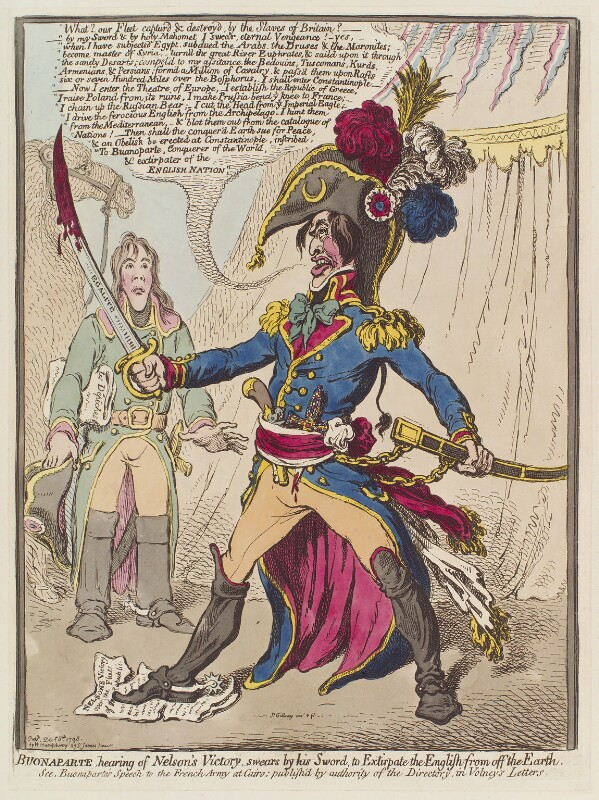 Napoleon Bonaparte, by James Gillray, published by  Hannah Humphrey, published 8 December 1798 - NPG D12671 - © National Portrait Gallery, London