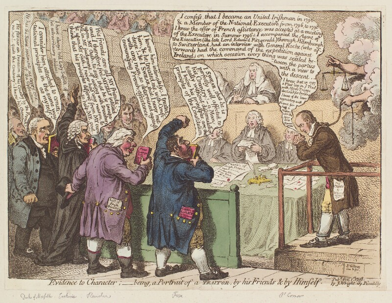 'Evidence to character; - being a portrait of a traitor, by his friends & by himself', by James Gillray, published by  John Wright, published 1 October 1798 - NPG D12674 - © National Portrait Gallery, London