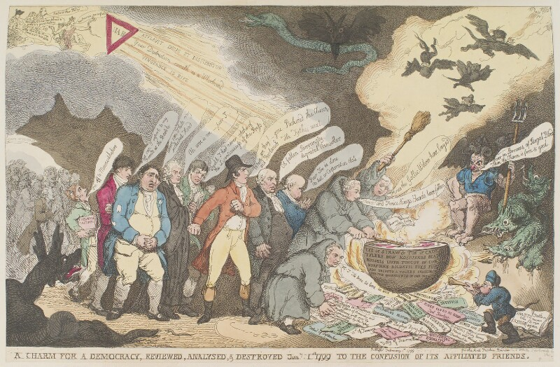 'A charm for a democracy, reviewed, analysed, & destroyed Jany 1st 1799 to the confusion of its affiliated friends', by Thomas Rowlandson, published by  James Whittle, published 1 February 1799 - NPG D12677 - © National Portrait Gallery, London